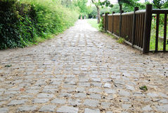 Medieval cobblestone footpath in Saint Denis park Royalty Free Stock Photos