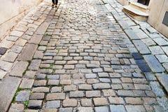 Medieval cobblestone street in Bratislava Royalty Free Stock Photography