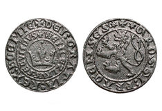 Medieval coin Prague groschen-700 years old coin. Isolated old Czech coins on a white background Royalty Free Stock Photos