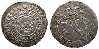 Medieval coin Prague groschen-700 years old coin Stock Images