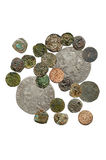 Medieval coins. Dirty, cash, home, male, sign, past, fine, rust, old, numismatics Stock Photo