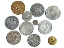 Medieval coins. Collection of the medieval coins on the white background stock images