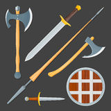 Medieval cold weapon illustration set Stock Photo