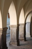 Medieval colonnade. In Telc, Czech Republic Royalty Free Stock Photos