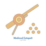 Medieval colorful logo emblem template, flat style Royalty Free Stock Photos