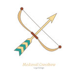 Medieval colorful logo emblem template, flat style Royalty Free Stock Photo