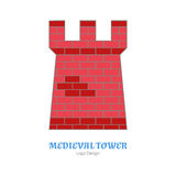 Medieval colorful logo emblem template, flat style. Medieval tower, fortification. Single logo, modern flat, thin line style  on white background. Colorful Stock Photos