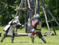 Medieval Combat Head shot. Mortal Combat at the Upper Canada Village Medieval festival near Morrisburg, Ontario, Canada Royalty Free Stock Images