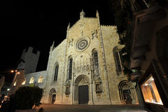 Medieval Como cathedral in night Stock Photo