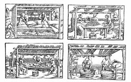 Medieval contruction industry, peasants at work Stock Photography