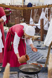 Medieval cook women costume Stock Photos