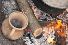 Medieval cooking on the fire. Royalty Free Stock Images