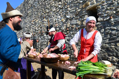 Medieval cooking people Royalty Free Stock Photos