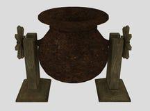Medieval cooking pot Stock Photos