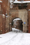 Medieval corner of Rome under snow Royalty Free Stock Photography