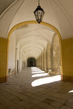 Medieval corridor in cloister Stock Images