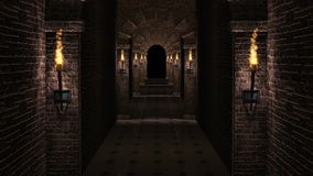 Medieval corridor. Dark medieval castle corridor with columns and torches 3d rendering stock footage