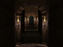 Medieval corridor and iron castle gate. Dark medieval castle corridor with iron castle gate.3d illustration Stock Photos