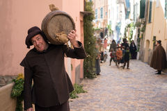Medieval costume party. Taggia, Italy - February 26, 2017: Close-up of participant the medieval costume party in the historic city of Taggia in Liguria region of royalty free stock image