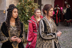 Medieval costume party Stock Images