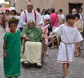 Medieval costume party. In the village Scheggia in Umbria. It is a historical festival in which is corso delle Bighe to see stock photography