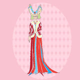 Medieval costume woman. Fictional character inspired by a medieval costume, hand drawn illustration over a pink background Stock Photos