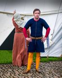 Medieval Costumes - squire and wife royalty free stock photo