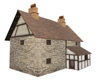 Medieval Country Farm House Isolated on White. Stone and half-timbered European Medieval country house or farmhouse isolated on a white background, 3d digitally Royalty Free Stock Photo