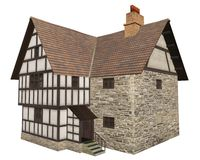 Medieval Country House Isolated on White. Stone and half-timbered European Medieval country house isolated on a white background, 3d digitally rendered Stock Image