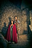 Medieval Couple With Fortress Royalty Free Stock Images
