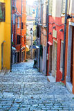 Medieval Croatian old street view in Rovinj,Europe Royalty Free Stock Images