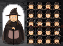 Medieval Crone Cartoon Emotion Faces Vector Illustration Royalty Free Stock Images