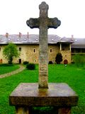 Medieval cross in  Sucevita Monastery, Moldavia, Romania Stock Photography