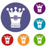Medieval crown icons set. In flat circle red, blue and green color for web Stock Photos