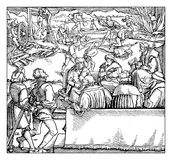 Medieval cruel punishment and justice. Justice and punishment administration in middle ages, XV century engraving Royalty Free Stock Images