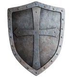 Medieval crusader knight's shield isolated Stock Photos