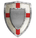Medieval crusader shield illustration Stock Photo
