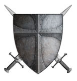 Medieval crusader shield and two crossed swords isolated 3d illustration. Old metal medieval crusader shield and two crossed swords isolated on white 3d Royalty Free Stock Photos