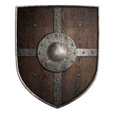 Medieval crusader wooden shield isolated 3d illustration. Medieval crusader wooden shield isolated on white 3d illustration Royalty Free Stock Image