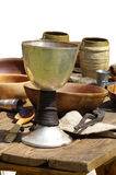 Medieval cups dining Royalty Free Stock Photography
