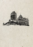 Medieval Czech castle drawn by hand in black ink, on beige rice paper background. Stock Photo
