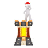 Medieval 3d guard standing lookout on ramparts. Medieval 3d guard standing lookout on the ramparts of an ancient colorful fortress in a red Santa hat for Royalty Free Stock Photo