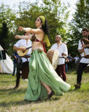 Medieval dancers. Color image Royalty Free Stock Photo