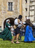 Medieval Dancers. Nogent le Rotrou,France- May 12, 2013: Group of medieval people dancing in front the spectators during the Percheval Medieval Festival, near Stock Photography
