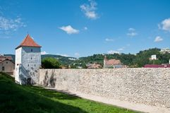 Medieval defence stone wall and tower Royalty Free Stock Photos