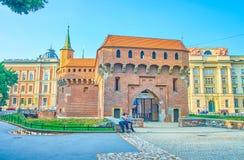 The medieval defensive Barbakan in Krakow, Poland royalty free stock photos
