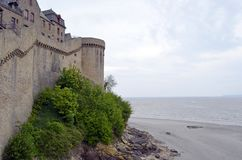 Medieval defensive wall in Mont Saint Michele in France, Normandy. 