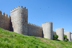 Medieval Defensive Walls. Avila. Medieval city walls in Avila, Spain. Considered the best preserved in Europe Stock Photography