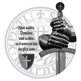 Medieval design. Crusaders knights gloves, sword, Templars seal and the prayer of the Crusader. Isolated on white, vector illustration, eps-10 Stock Images