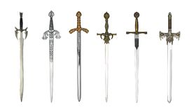 Medieval different swords. Six medieval swords isolated on a white backgroud Stock Photos